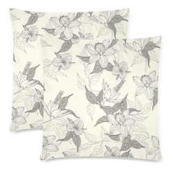 """Aloha Flowers Custom Zippered Pillow Cases 18""""x 18"""" (Twin Sides) (Set of 2)"""