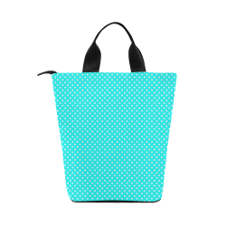 Baby blue polka dots Nylon Lunch Tote Bag (Model 1670)
