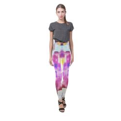 Blue pink watercolors Cassandra Women's Leggings (Model L01)