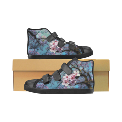 Cherry blossomL Velcro High Top Canvas Kid's Shoes (Model 015)