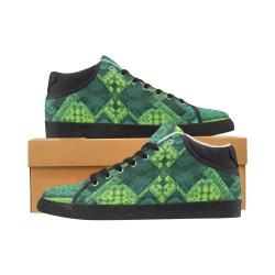 Green Theme 3D Mosaic Women's Chukka Canvas Shoes (Model 003)