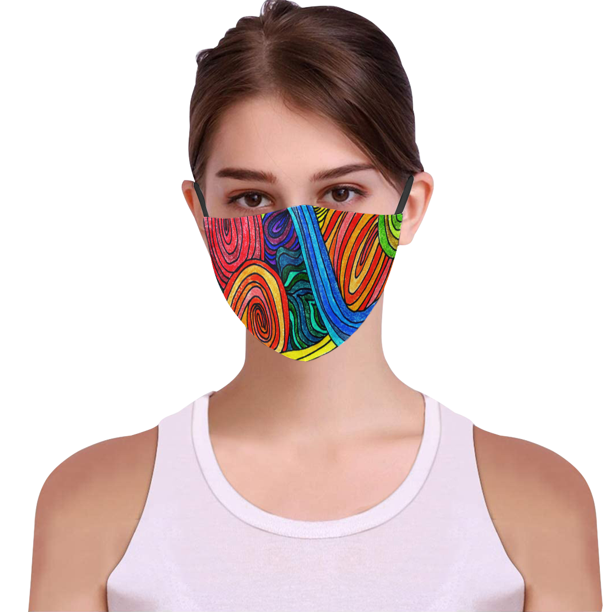 Psychedelic Lines 3D Mouth Mask with Drawstring (Model M04)