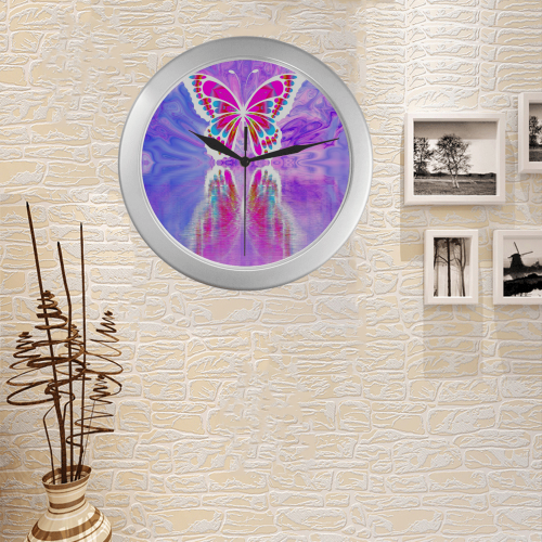 Silver Frame Wall Clock Classic Graphic Gradient Butterfly Style Modern Art Wall Clock Silver Color Wall Clock