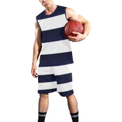 Blue White Stripes All Over Print Basketball Uniform
