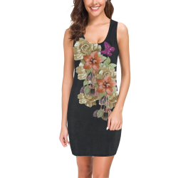 leather floweron black suede Medea Vest Dress (Model D06)