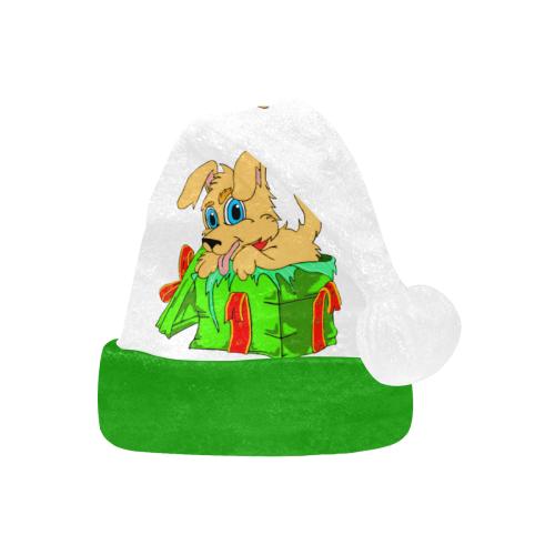 Christmas Puppy White/Green Santa Hat
