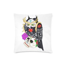 """Owl Sugar Skull Custom Zippered Pillow Case 16""""x16"""" (one side)"""