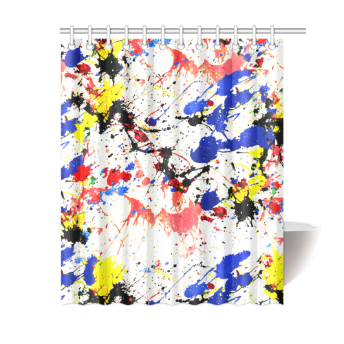 """Blue and Red Paint Splatter Shower Curtain 60""""x72"""""""