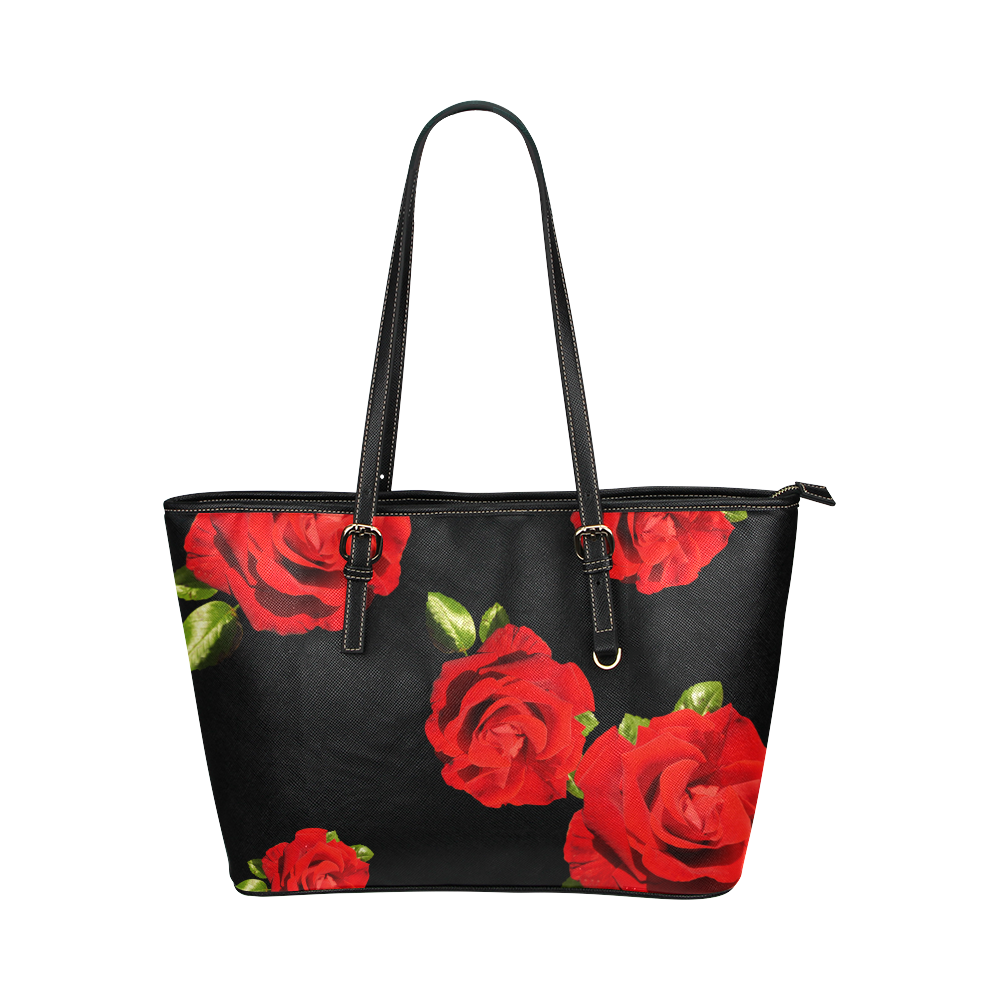 Fairlings Delight's Black Luxury Collection- Red Rose Handbag 53086b Leather Tote Bag/Large (Model 1651)