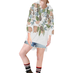Bouquet Step Hem Tunic Hoodie for Women (Model H25)
