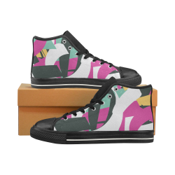 zapato de caña alta de mujer diseño graffiti Women's Classic High Top Canvas Shoes (Model 017)