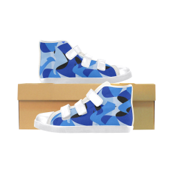 Camouflage Abstract Blue and Black Velcro High Top Canvas Kid's Shoes (Model 015)