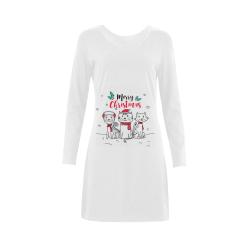 Merry Christmas Three Little Kittys Demeter Long Sleeve Nightdress (Model D03)