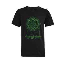 Mandala with Green Tara Mantra Men's V-Neck T-shirt (USA Size) (Model T10)