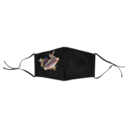 Las Vegas Welcome Sign on Black 3D Plus Size Mouth Mask with Drawstring (Model M05)
