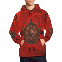 Skulls on red vintage background All Over Print Hoodie for Men/Large Size (USA Size) (Model H13)