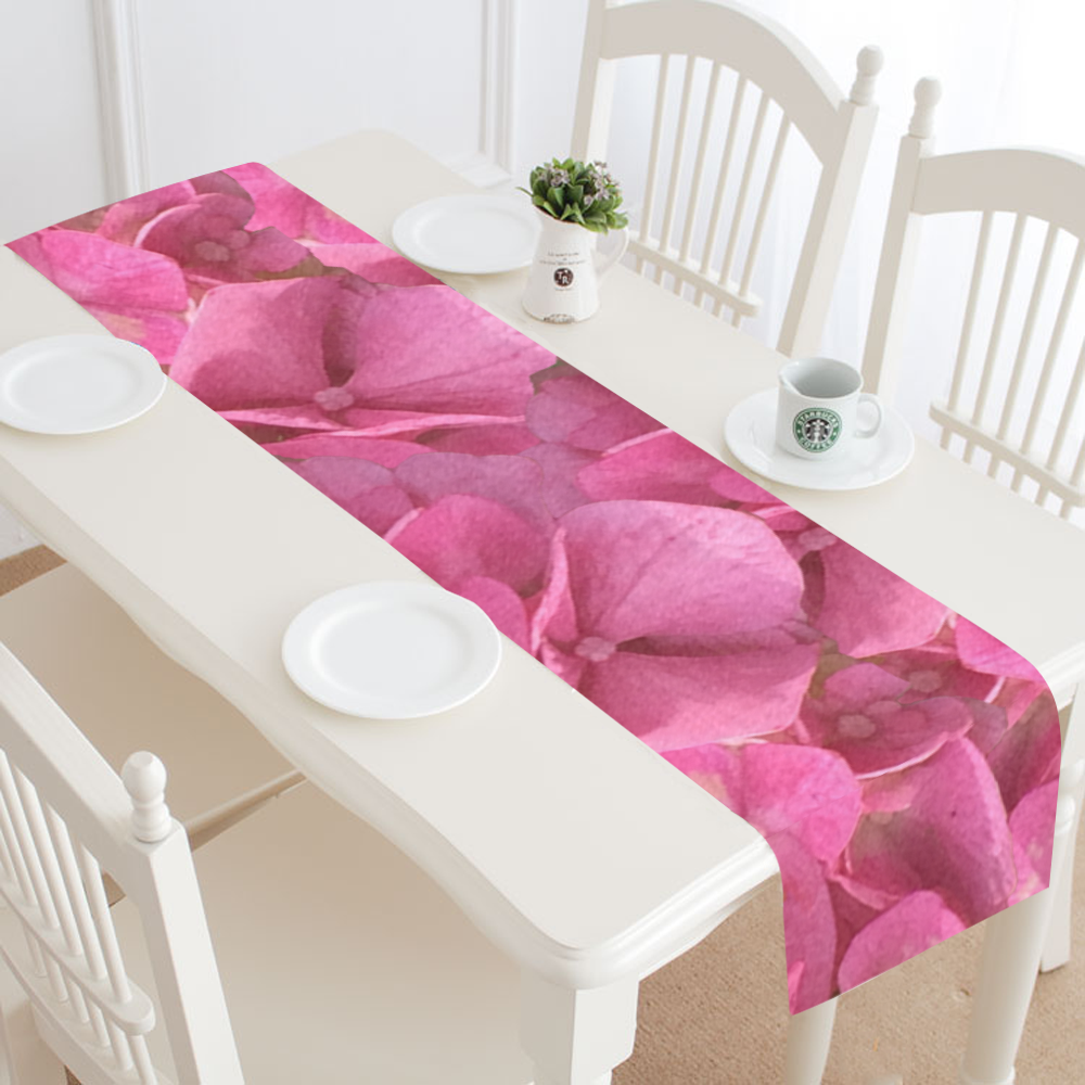 Dark Pink Flowers Table Runner 14x72 inch