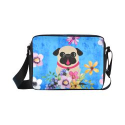 Fawn Pug Flowers Classic Cross-body Nylon Bags (Model 1632)