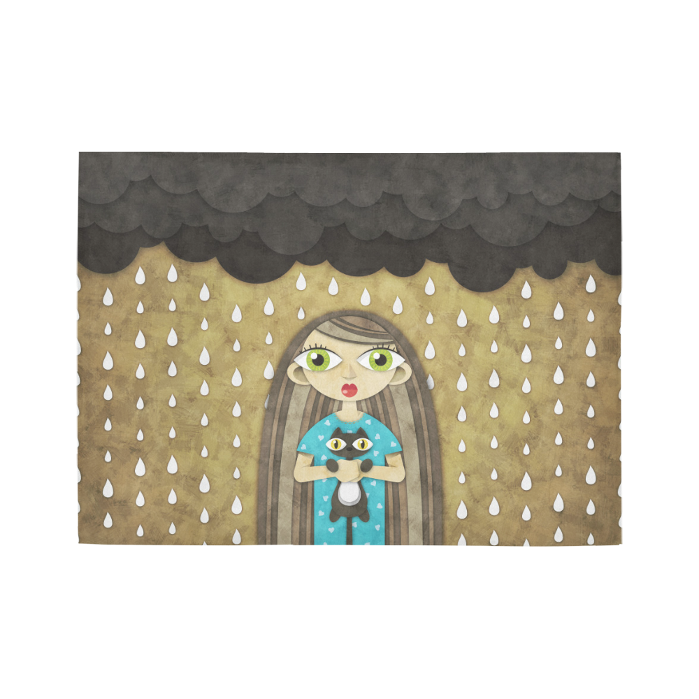 We Love Rain Area Rug7'x5'