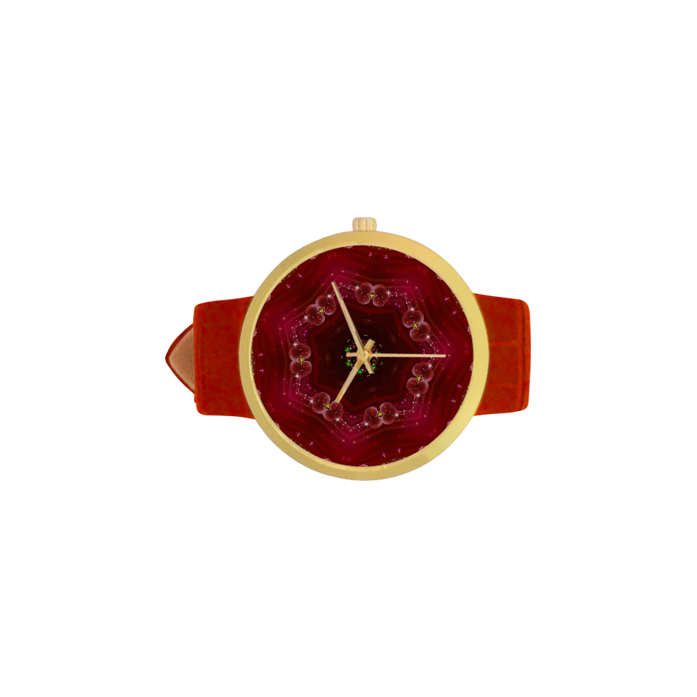 Love and Romance Glittering Ruby and Diamond Heart Women's Golden Leather Strap Watch(Model 212)