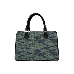 Jungle Tiger Stripe Green Camouflage Boston Handbag (Model 1621)