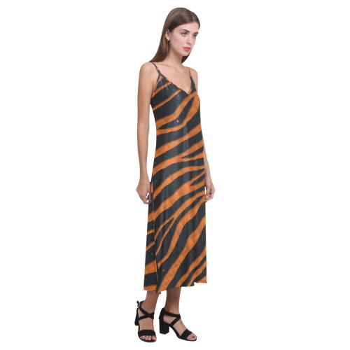 Ripped SpaceTime Stripes - Orange V-Neck Open Fork Long Dress(Model D18)