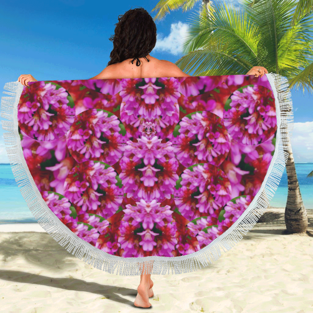 "Happy florals  giving  peace Circular Beach Shawl 59""x 59"""