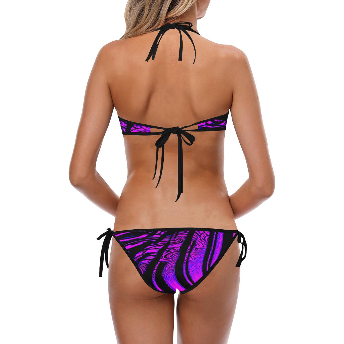 Dance Party Custom Halter & Side Tie Bikini Swimsuit (Model S06)