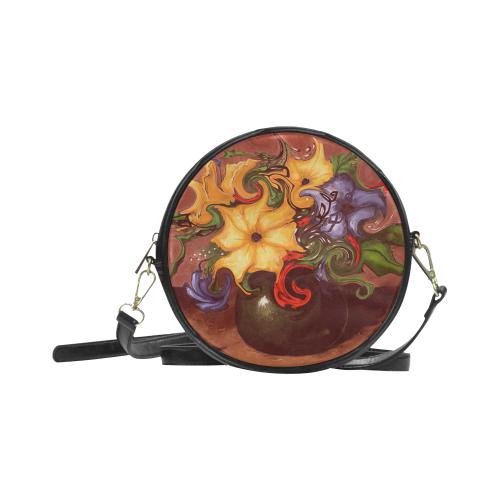 Dancing Flowers Round Sling Bag (Model 1647)