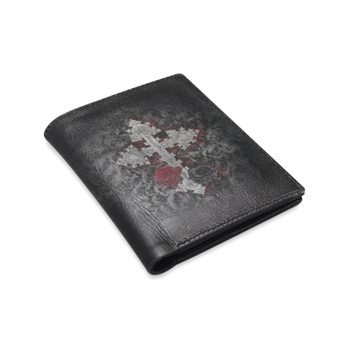 Gothic Cross Men's Leather Wallet (Model 1612)