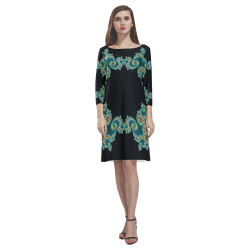 Aqua and Black  Hearts Lace Fractal Abstract Rhea Loose Round Neck Dress(Model D22)