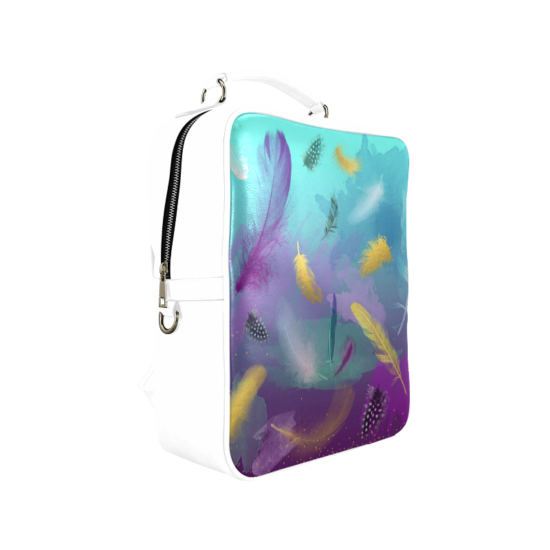 Dancing Feathers - Turquoise and Purple Square Backpack (Model 1618)
