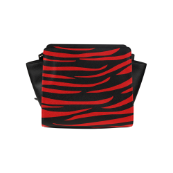 Tiger Stripes Black and Red Satchel Bag (Model 1635)