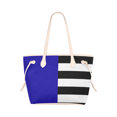 Blue and Stripes Mixed Print Clover Canvas Tote Bag (Model 1661)