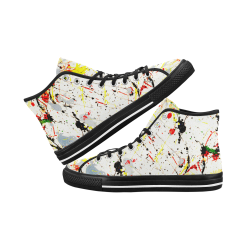 Yellow & Black Paint Splatter - Black Vancouver H Men's Canvas Shoes (1013-1)
