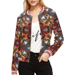 Burgundy Grey w/Gold Square Pattern All Over Print Bomber Jacket for Women (Model H21)