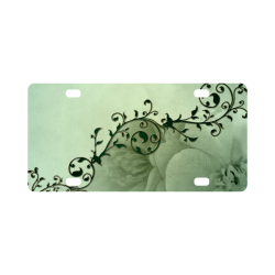 Wonderful flowers, soft green colors Classic License Plate