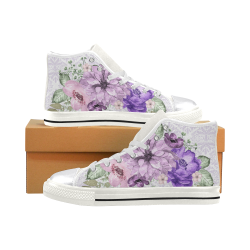 Purple Flower Shoes, Sweet Girl Women's Classic High Top Canvas Shoes (Model 017)