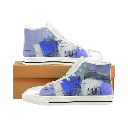 Lua blue White Women's Classic High Top Canvas Shoes (Model 017)