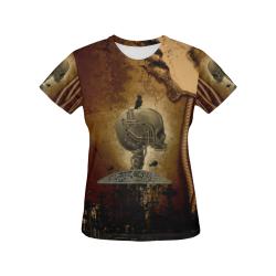Mechanical skull All Over Print T-Shirt for Women (USA Size) (Model T40)