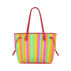 Neon Stripes  Tangerine Turquoise Yellow Pink Clover Canvas Tote Bag (Model 1661)