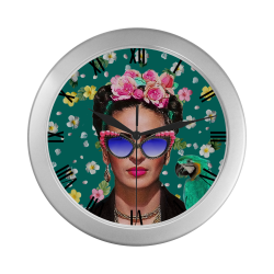 Frida Kahlo...Hey Where's My Earing ? (Teal) Silver Color Wall Clock