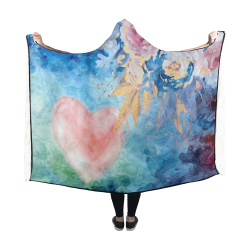 Heart and Flowers - Pink and Blue Hooded Blanket 60''x50''