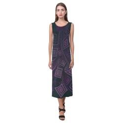 Psychedelic 3D Square Spirals - purple Phaedra Sleeveless Open Fork Long Dress (Model D08)