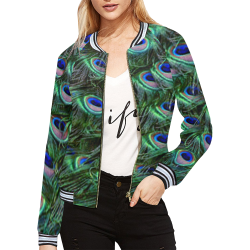 Peacock Feathers All Over Print Bomber Jacket for Women (Model H21)