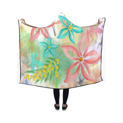 Flower Pattern - coral pink, teal green, yellow Hooded Blanket 50''x40''