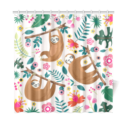 "Shower with Sloths Shower Curtain 72""x72"""
