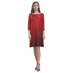 Autumn Maple Leaves Canada Dresses Rhea Loose Round Neck Dress(Model D22)