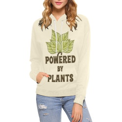 Powered by Plants (vegan) All Over Print Hoodie for Women (USA Size) (Model H13)