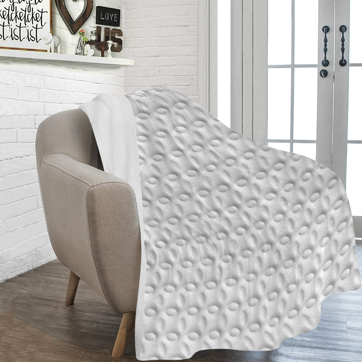 White ellipses embossed abstract Ultra-Soft Micro Fleece Blanket 54''x70''